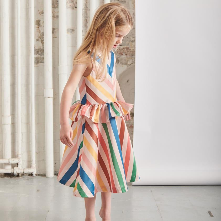 THE MIDDLE DAUGHTER - DRESS IN KIND - EAU DE ROSE STRIPE - 5-6YR