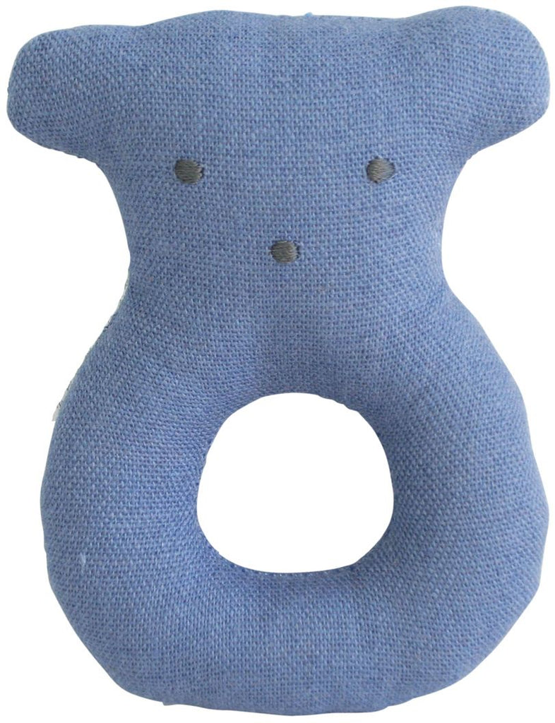 LINEN BEAR RING RATTLE CHAMBRAY