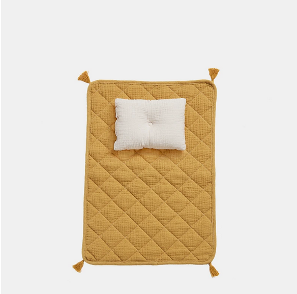 ORGANIC COTTON STROLLEY BEDDING SET - MUSTARD