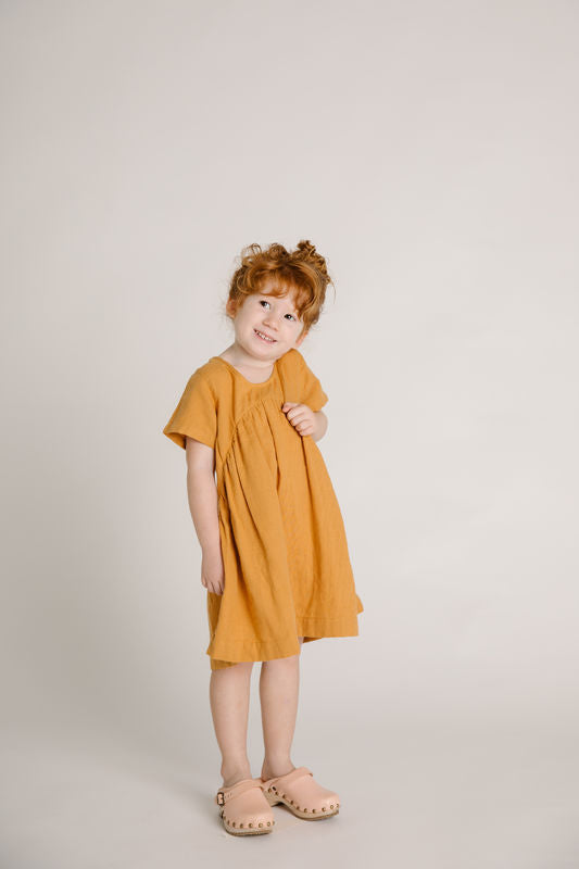 CLOVER TODDLER DRESS - GOLD - S OLLIELLA