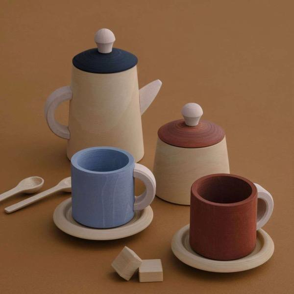 RADUGA GREZ WOODEN TEA SET TERRA & BLUE