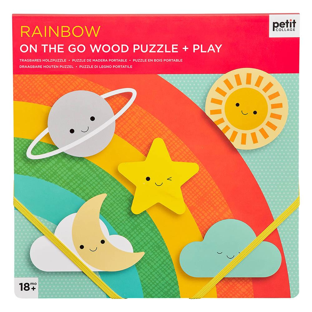 RAINBOW CHUNKY WOOD PUZZLE + PLAY