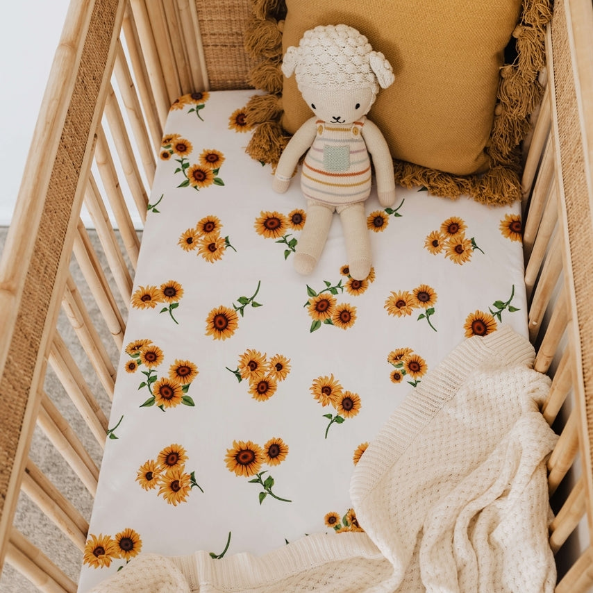 FITTED COT SHEET - SUNFLOWER - 100% COTTON JERSEY