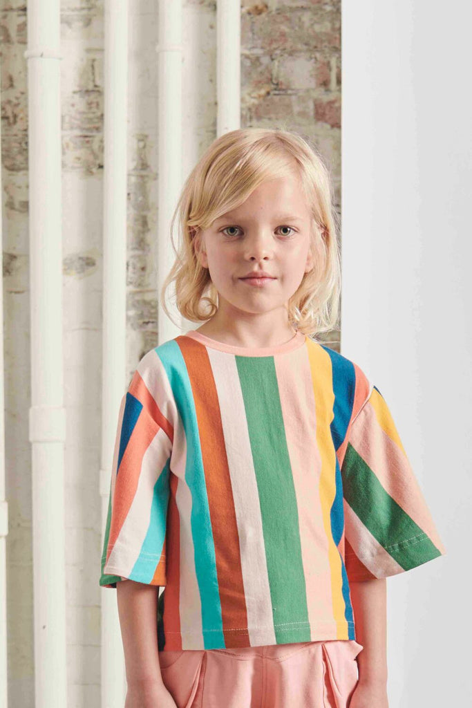 THE MIDDLE DAUGHTER - SWING INTO ACTION TOP - MULTI STRIPE - 4YR