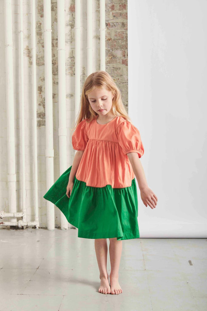 THE MIDDLE DAUGHTER - TIERY EYED DRESS -JUICY PEACH - 2YR
