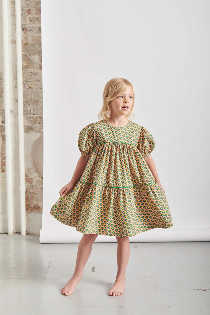 THE MIDDLE DAUGHTER - TIERY EYED DRESS - D PRINT - 7-8YR