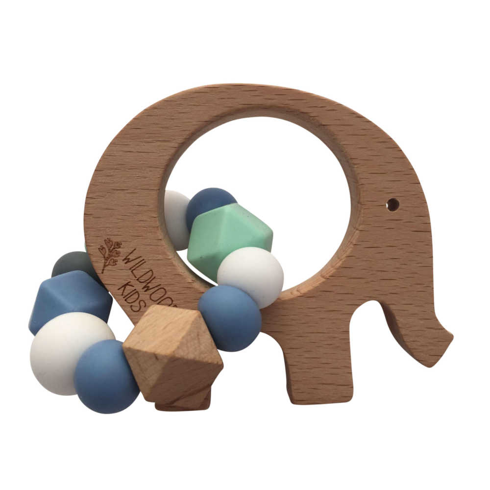 Elephant teether blue wildwood