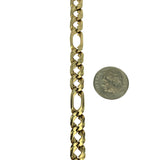 14k Yellow Gold 19.4g Solid Men's Double Figaro Link Chain Bracelet Italy 8.25""