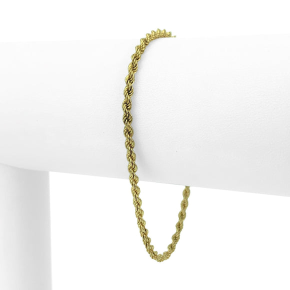 14k Yellow Gold Solid 2.5mm Rope Chain Bracelet 6.75