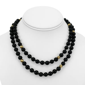 14k Yellow Gold and 8mm Onyx Ball Bead Long Necklace 32""
