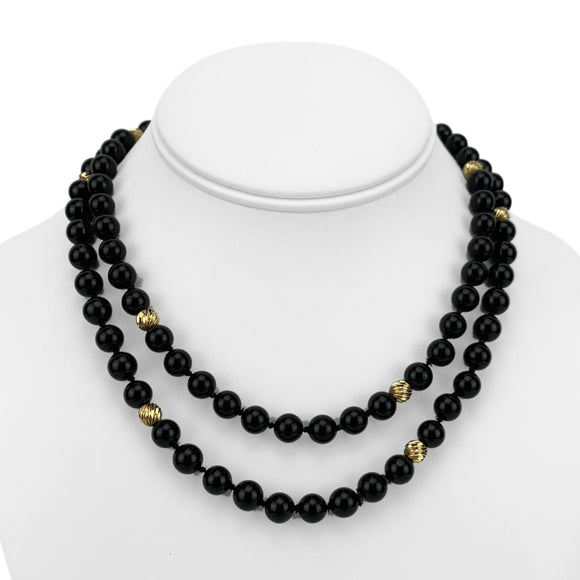 14k Yellow Gold and 8mm Onyx Ball Bead Long Necklace 32