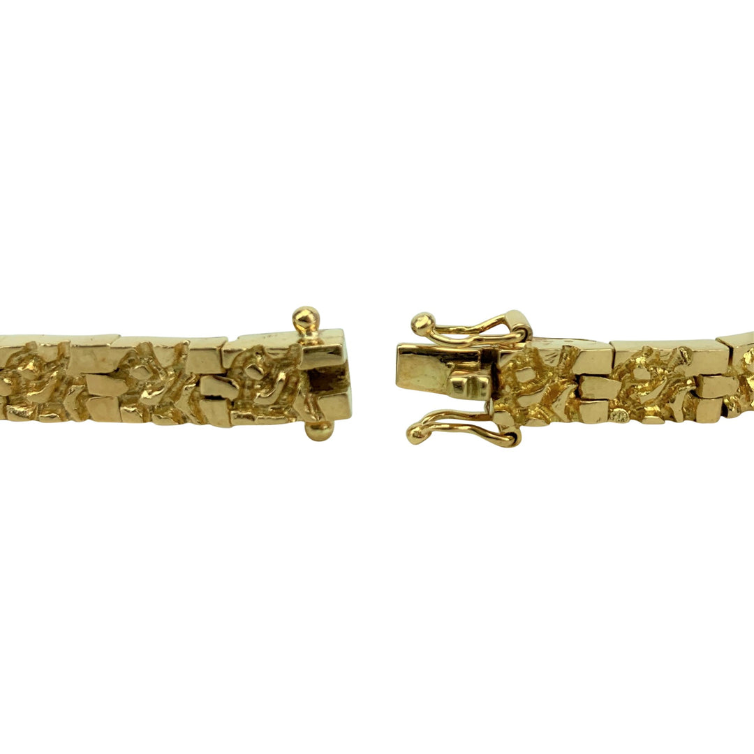18k Yellow Gold 31.8g Solid Heavy 5.5mm Nugget Design Link Bracelet 8.5""