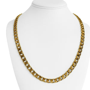 14k Yellow Gold 64.7g Solid Heavy 7.5mm Curb Link Chain Necklace 22.5""