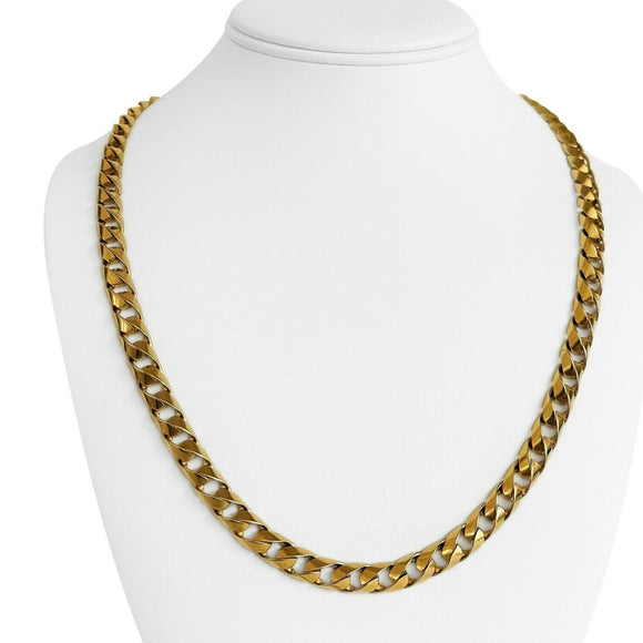 **RESERVED**  14k Yellow Gold 64.7g Solid Heavy 7.5mm Curb Link Chain Necklace 22.5