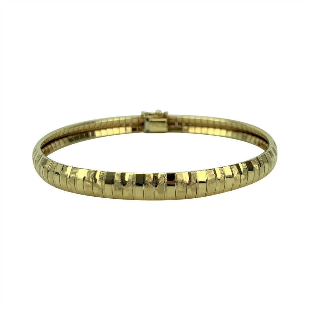 14k Yellow Gold 13.3g Ladies Fancy Etched Omega Link Bracelet Italy 7.25""