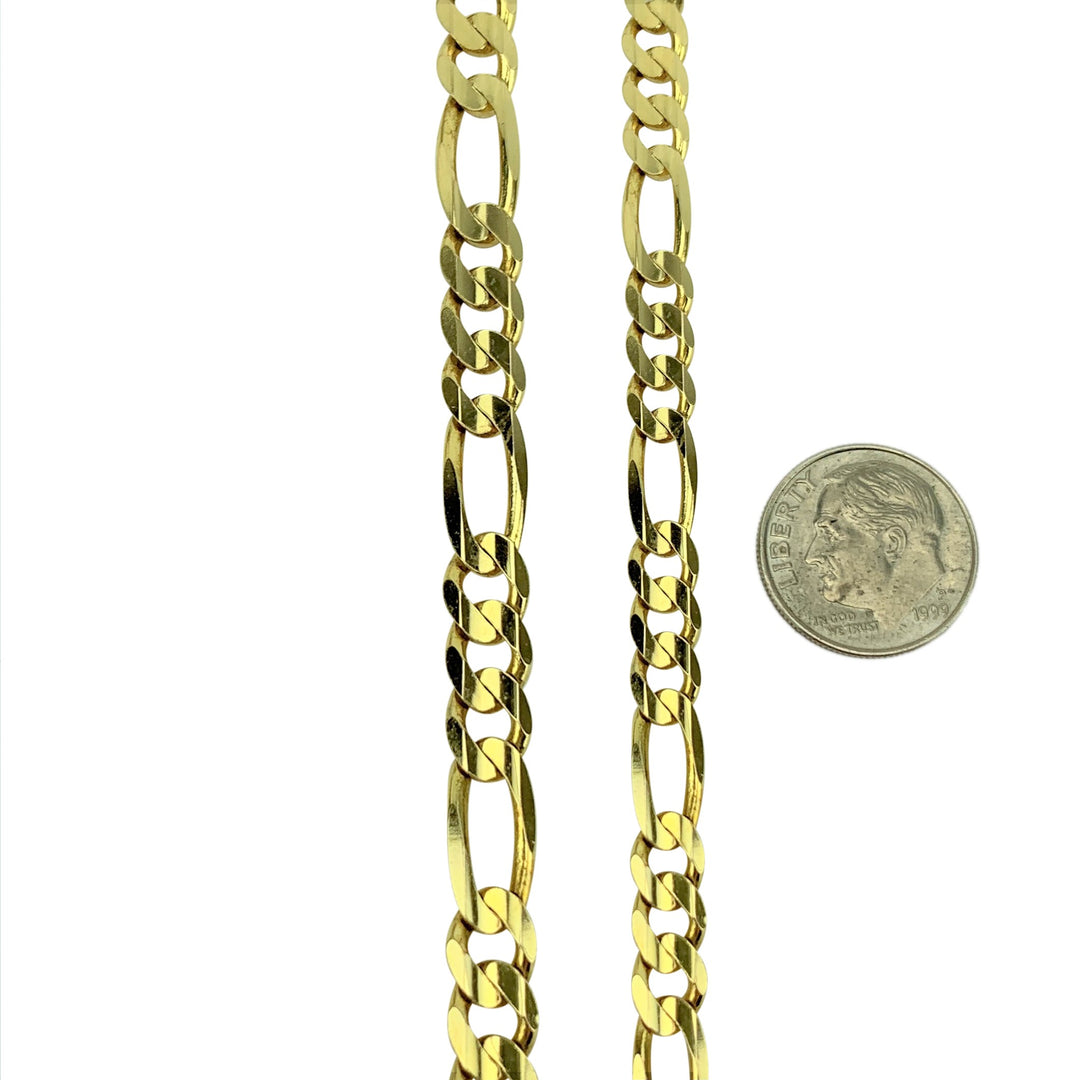 14k Yellow Gold 30.9g Solid Heavy 6mm Figaro Link Chain Necklace Italy 24""