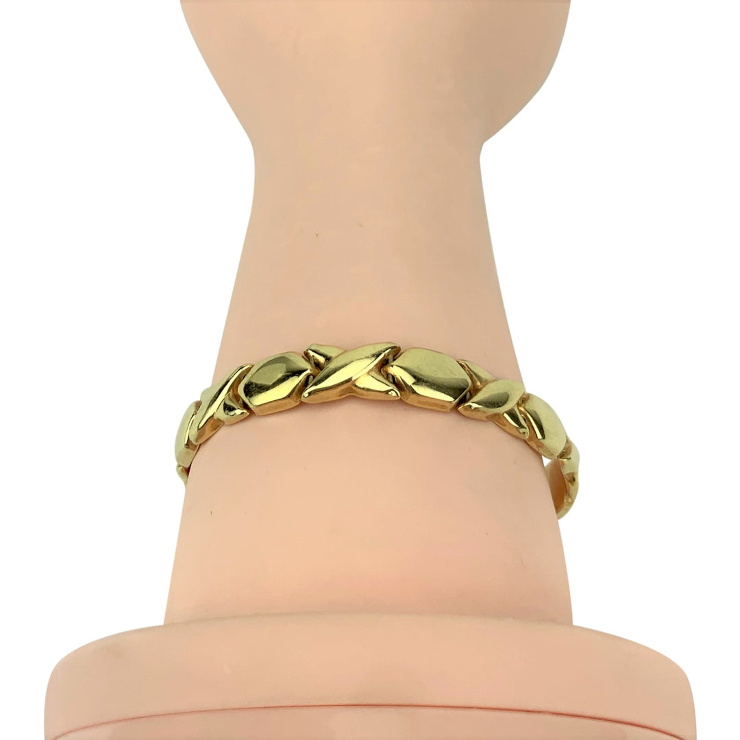 14k Yellow Gold 11.8g Ladies Hugs and Kisses XO Link Bracelet Italy 7""