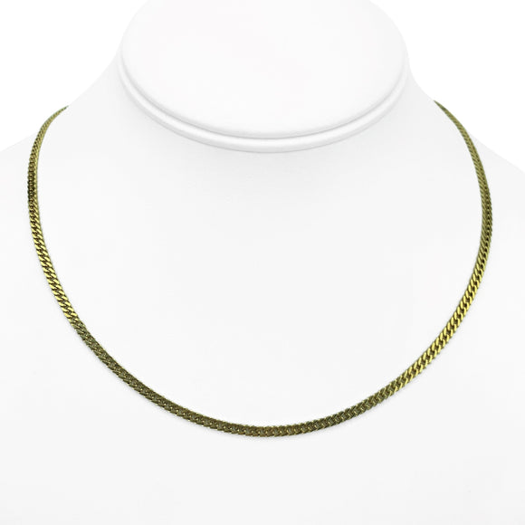 14k Yellow Gold 10g Solid Thin 2.5mm Curb Link Chain Necklace 17