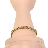14k Yellow Gold Hollow Light 4mm Rope Chain Bracelet 8.25""