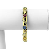 18k Yellow Gold 22.3g Diamond and Colored Sapphire Bangle Bracelet 7""