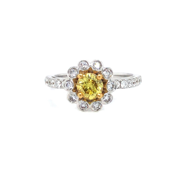 18k White Gold GIA Yellow Diamond Floral Engagement Ring Size 6
