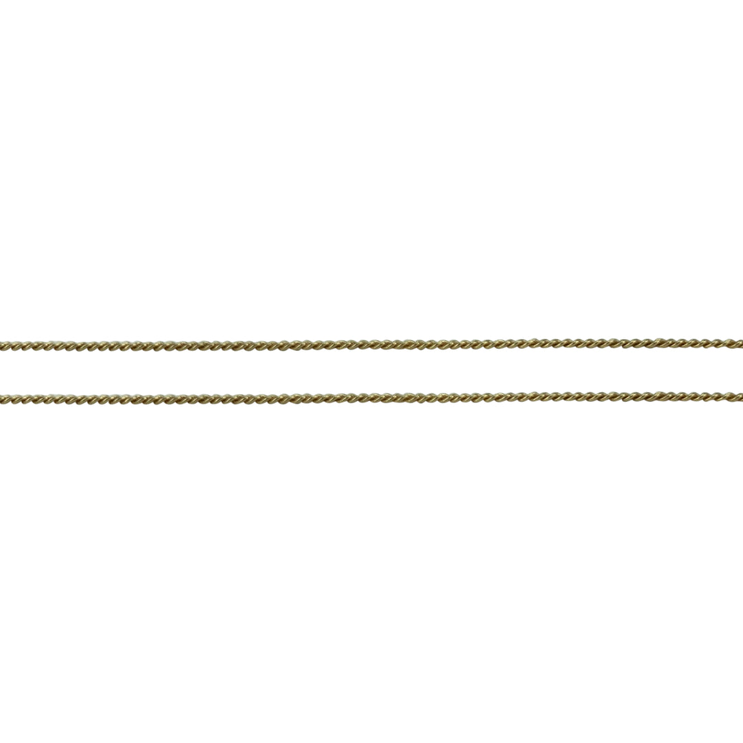 14k Yellow Gold Thin Light 1.5mm Curb Link Chain Necklace 25""
