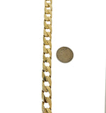 14k Yellow Gold 28g Heavy Textured and Polished Curb Link Bracelet 9.25""