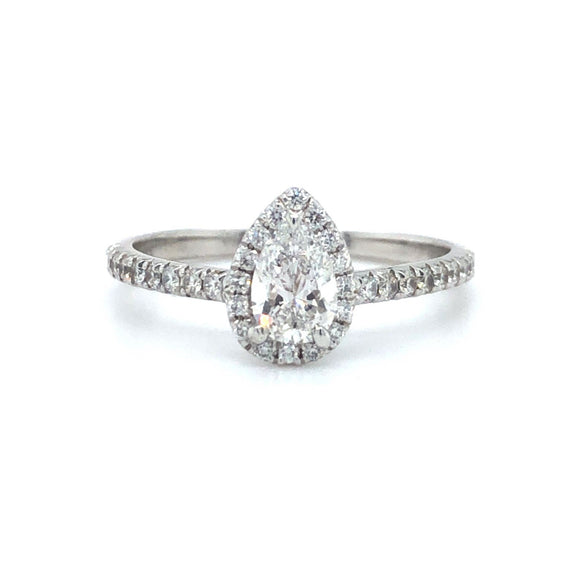 Tiffany & Co. Soleste Pear Diamond Halo Engagement Ring Platinum Size 6 GIA
