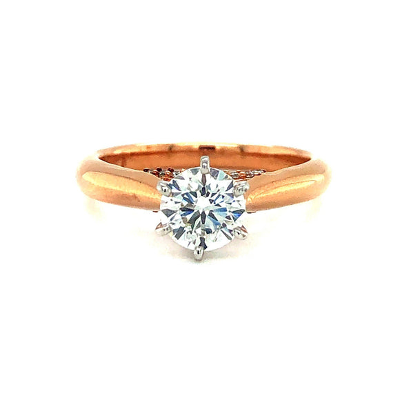 14k Rose Gold 0.90ct GIA Certified Diamond Solitaire Engagement Ring Size 6.75