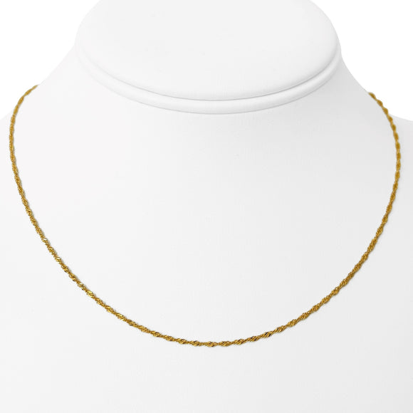 22k Yellow Gold Ladies 1.5mm Thin Light Dainty Twisted Curb Link Necklace 16