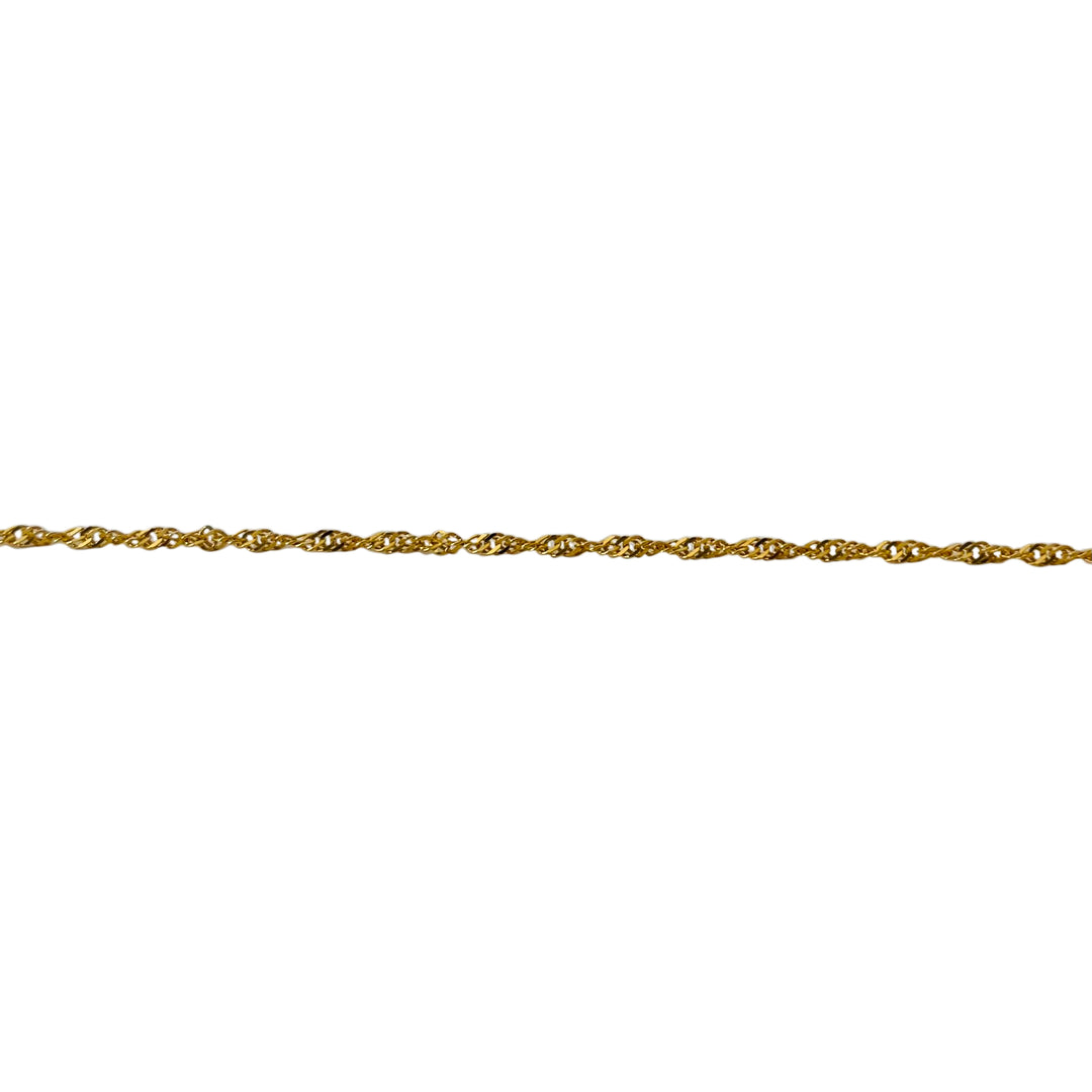 22k Yellow Gold Ladies 1.5mm Thin Light Dainty Twisted Curb Link Necklace 16""