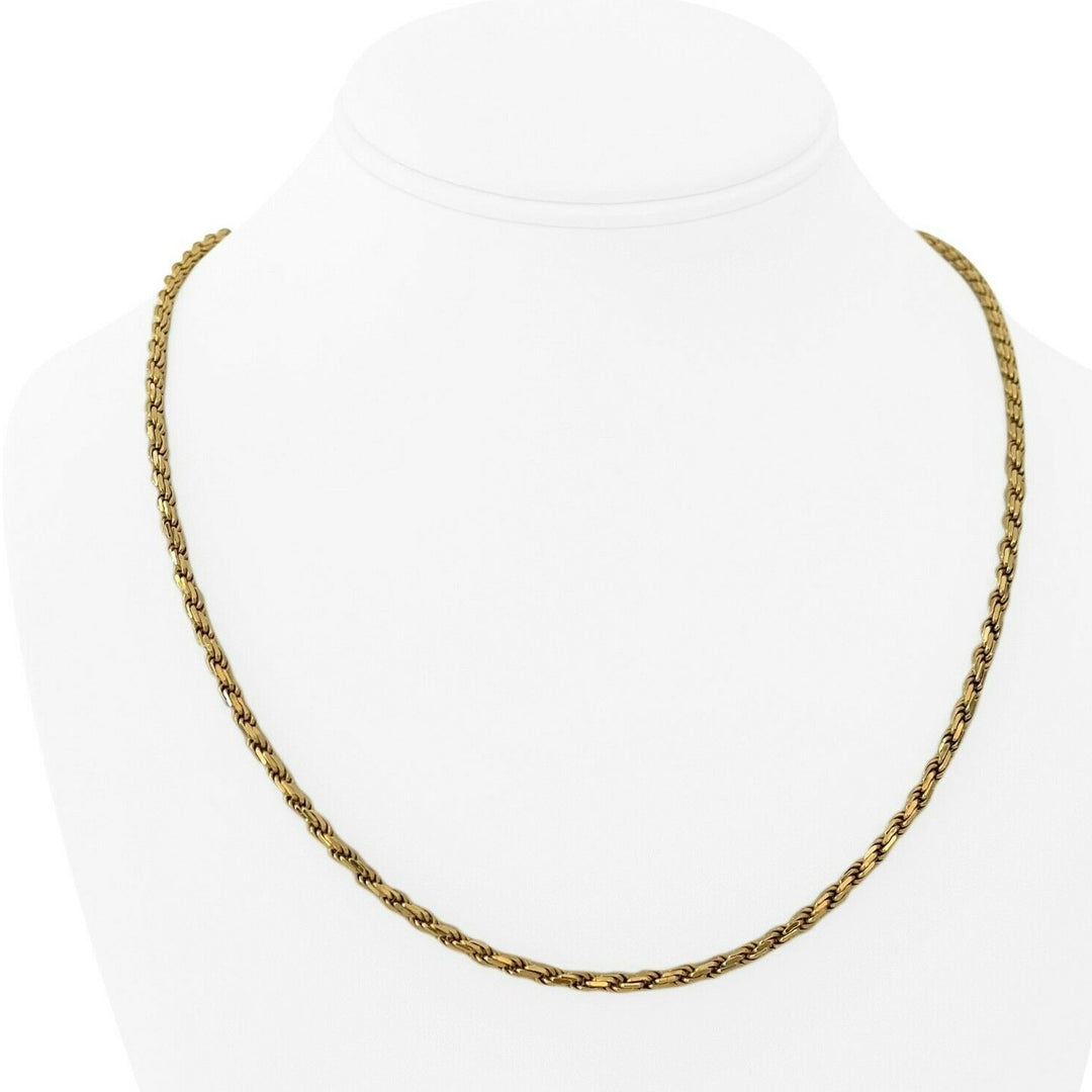 18k Yellow Gold 22.6g Solid Heavy 3mm Rope Chain Necklace Italy 20""