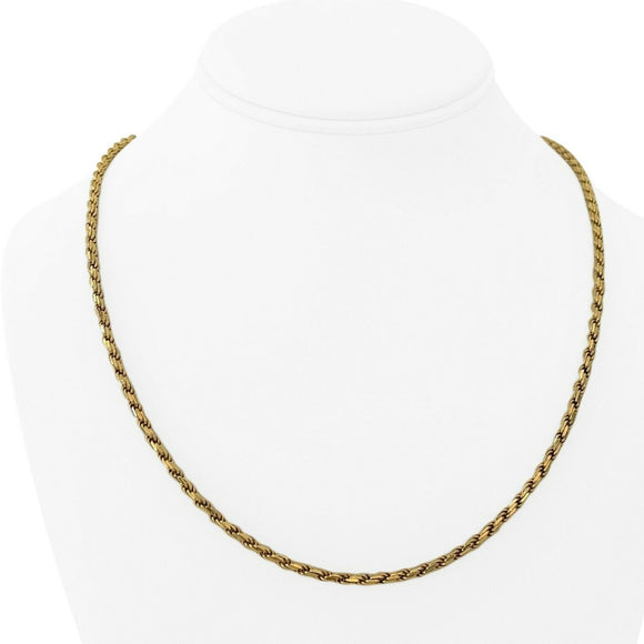 18k Yellow Gold 22.6g Solid Heavy 3mm Rope Chain Necklace Italy 20