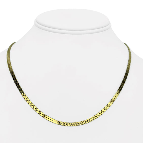 14k Yellow Gold 14.4g Solid 3mm Flat Curb Link Chain Necklace Italy 18