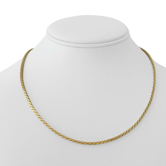 14k Yellow Gold 15.8g Solid Thick 2mm Serpentine Link Chain Necklace 17.5