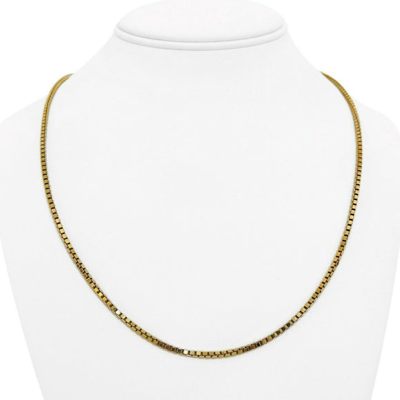 14k Yellow Gold 17.7g Solid 2mm Box Link Chain Necklace Italy 21.5