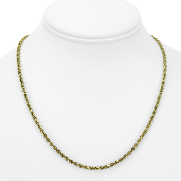 14k Yellow Gold 11.3g Solid Diamond Cut 2.5mm Rope Chain Necklace 18