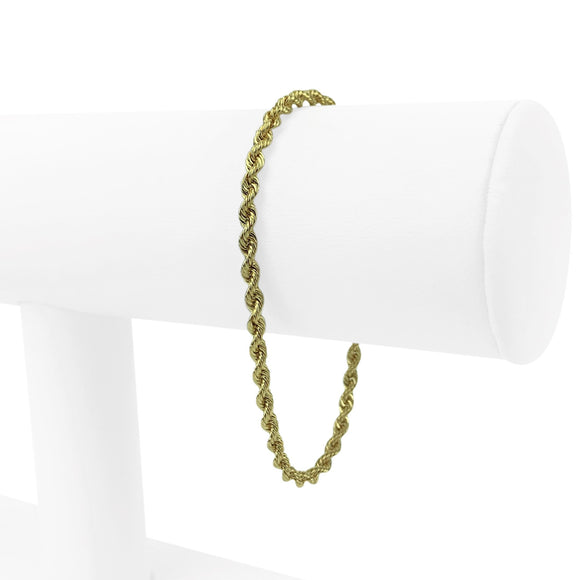 14k Yellow Gold 5.5g Solid Diamond Cut 3mm Rope Chain Bracelet 7