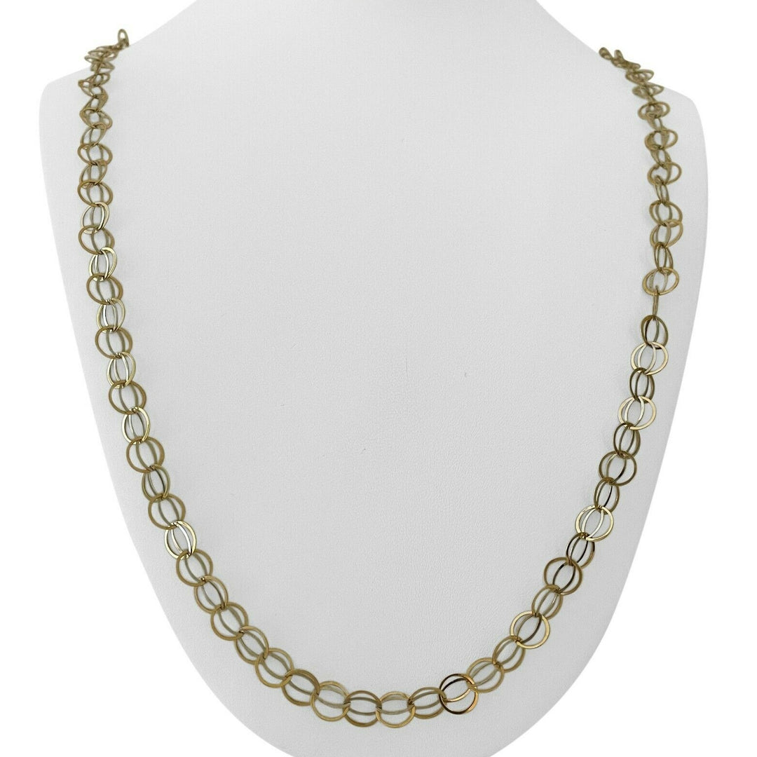 18k Yellow Gold 10.4g Ladies Long Fancy Circle Link Chain Necklace Italy 32""