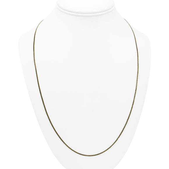 14k Yellow Gold Thin Light 1.5mm Curb Link Chain Necklace 25