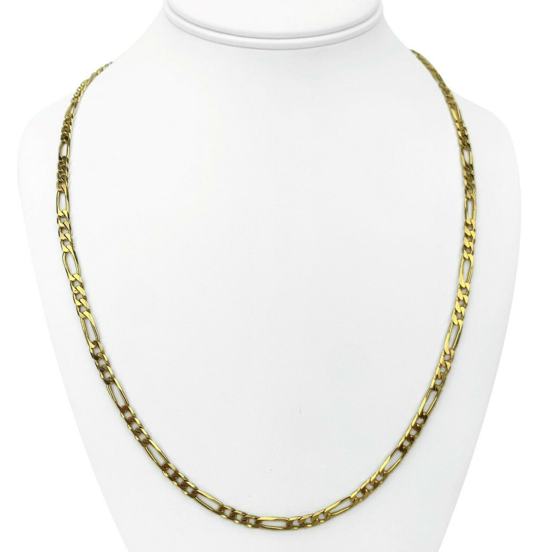 14k Yellow Gold 25g Solid 4mm Figaro Link Chain Necklace Italy 24""