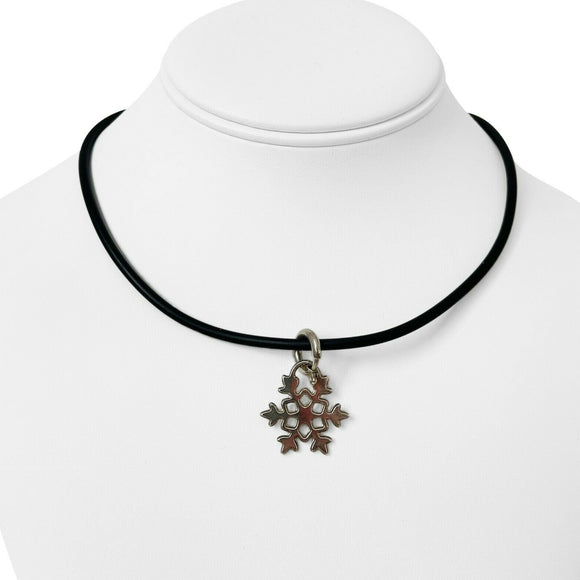 Tiffany & Co. Sterling Silver Snowflake Pendant on Black Rubber Necklace 16