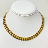 14k Yellow Gold 36g Fancy Link Wave Design Chain Necklace Italy 17""