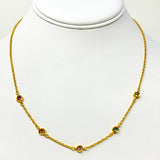 24k Solid Yellow Gold and Multi Gemstone Vintage Link Chain Necklace 18""