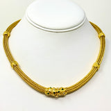 18k Yellow Gold Diamond Emerald Fancy Mesh Wheat Necklace 17.5""