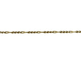 14k Yellow Gold 7.4g Solid Diamond Cut 4mm Figaro Link Bracelet Italy 7""