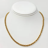 14k Yellow Gold Twisted Fancy Rope Style Chain Link Necklace Italy 18 Inches