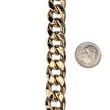 10k Yellow Gold 29.2g Hollow 12.5mm Cuban Curb Link Chain Bracelet 9""