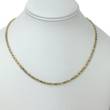 14k Yellow Gold 9.1g Solid Diamond Cut 2mm Rope Chain Necklace 18""