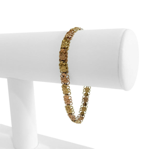 10k Yellow and Rose Gold Two Tone Ladies Diamond Cut Fancy Bracelet 7